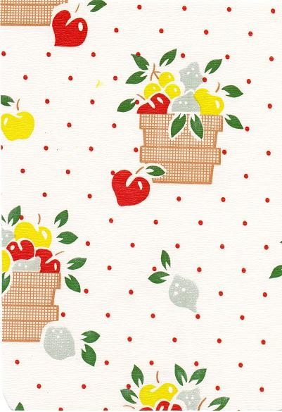 """Luxury Vinyl Oilcloth Roll 55"""" x 82ft. Red coffee baskets  with red apples and red dots finish"""