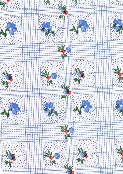 """Luxury Vinyl Oilcloth Roll 55"""" x 82ft. Colima blue flowers with green leaves finish"""