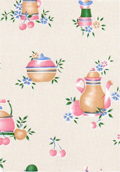 """Luxury Vinyl Oilcloth Roll 55"""" x 82ft. Colombia coffee pots finish"""