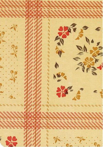 """Luxury Vinyl Oilcloth Roll 55"""" x 82ft. Fantasy red flowers with green leaves and beige finish"""