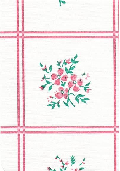 "Luxury Vinyl Oilcloth Roll 55"" x 82ft. Bouquet pink flowers with green leaves finish"