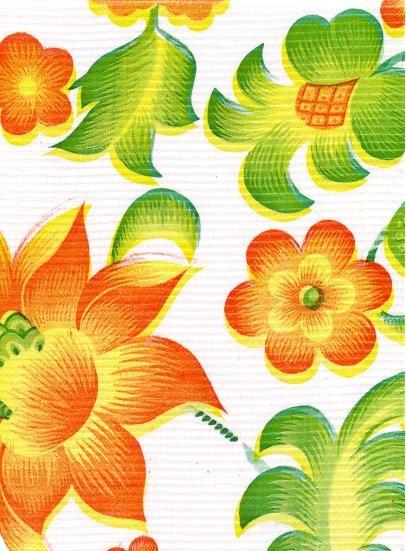 "Standard Vinyl Oilcloth Roll 47"" x 36 ft. Orange sunflowers whith green leaves finish"