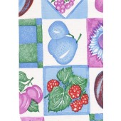 """Luxury Vinyl Oilcloth Roll 55"""" x 82ft. Countryside blue and purple fruits finish"""