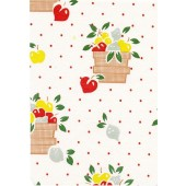 "Luxury Vinyl Oilcloth Roll 55"" x 82ft. Red coffee baskets  with red apples and red dots finish"