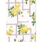 "Luxury Vinyl Oilcloth Roll 55"" x 82ft. Carolina yellow flowers with green leaves finish"