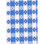 """Luxury Vinyl Oilcloth Roll 55"""" x 82ft. Merida blue and black squares with flowers finish"""