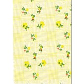 """Luxury Vinyl Oilcloth Roll 55"""" x 82ft. Colima yellow flowers with green leaves finish"""