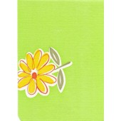 """Luxury Vinyl Oilcloth Roll 55"""" x 82ft. Green daisies with pink flowers and green leaves finish"""