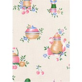 "Luxury Vinyl Oilcloth Roll 55"" x 82ft. Colombia coffee pots finish"