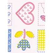 "Luxury Vinyl Oilcloth Roll 55"" x 82ft. Blue and pink hearts squares with different shapes finish"