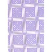 "Luxury Vinyl Oilcloth Roll 55"" x 82ft. Stellar white stars with violet squares finish"