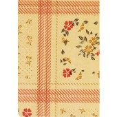 "Luxury Vinyl Oilcloth Roll 55"" x 82ft. Fantasy red flowers with green leaves and beige finish"