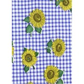 "Luxury Vinyl Oilcloth Roll 55"" x 82ft. Blue and yellow sunflowers with green leaves and blue squares finish"