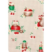 """Standard Vinyl Oilcloth Roll 47"""" x 36 ft. Colombia coffee pots finish"""