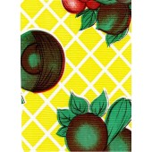 """Standard Vinyl Oilcloth Roll 47"""" x 36 ft. Yellow fruits and vegetables finis"""
