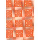 "Standard Vinyl Oilcloth Roll 47"" x 36 ft. Stellar white stars with orange squares finish"