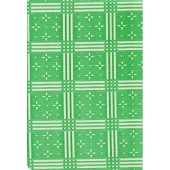"""Standard Vinyl Oilcloth Roll 47"""" x 36 ft. Stellar white stars with green squares finish"""