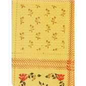 """Standard Vinyl Oilcloth Roll 47"""" x 36 ft. Fantasy red flowers with green leaves and beige finish"""