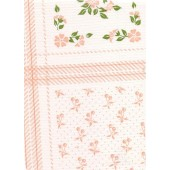 """Standard Vinyl Oilcloth Roll 47"""" x 36 ft. Fantasy pink flowers with green leaves and white finish"""