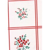 """Standard Vinyl Oilcloth Roll 47"""" x 36 ft. Bouquet red flowers with green leaves finish"""