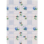 """Standard Vinyl Oilcloth Roll 47"""" x 36 ft. Colima blue flowers with green leaves  finish"""