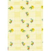 """Vinyl Oilcloth Roll 47"""" x 36 ft. Colima yellow flowers with green leaves finish"""