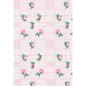 """Standard Vinyl Oilcloth Roll 47"""" x 36 ft. Colima pink flowers with green leaves finish"""