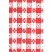 """Luxury Vinyl Oilcloth Roll 55"""" x 82ft. Merida red and black squares with flowers finish"""