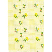 """Luxury Vinyl Oilcloth Roll 55"""" x 82ft. Colima yellow flowers with green leaves finish, by Oilcloths.com"""