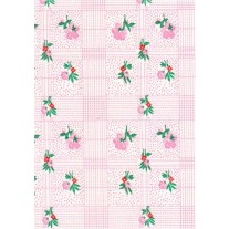 """Luxury Vinyl Oilcloth Roll 55"""" x 82ft. Colima pink flowers with green leaves finish"""