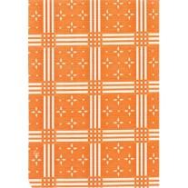 "Luxury Vinyl Oilcloth Roll 55"" x 82ft. Stellar white stars with orange squares finish"
