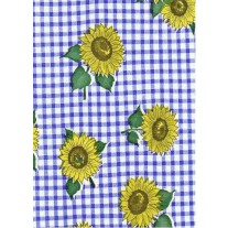 """Luxury Vinyl Oilcloth Roll 55"""" x 82ft. Blue and yellow sunflowers with green leaves and blue squares finish"""